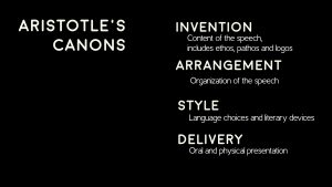 A Keynote slide with lots of explanation of Aristotle's Canons